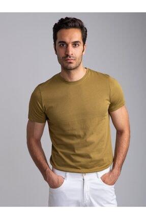 Dufy Erkek Açık Haki Bisiklet Yaka Düz T-shirt