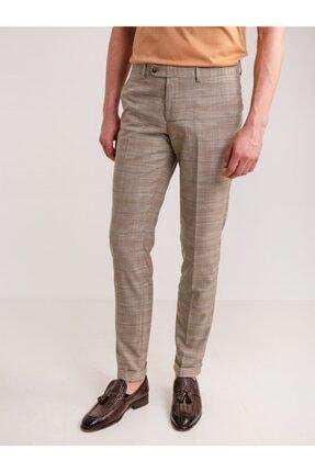 Dufy Erkek Kahverengi  Ekose Desen Klasik Pantolon  Modern Fit