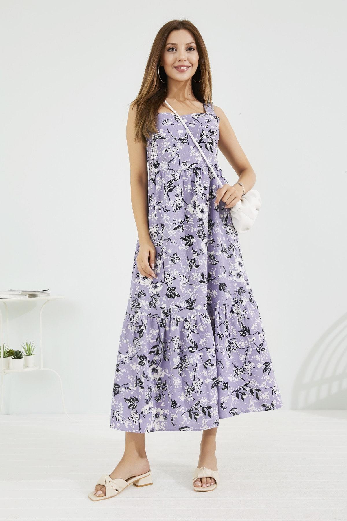 Sateen Kadın Lila Elbise Stn118Kel115