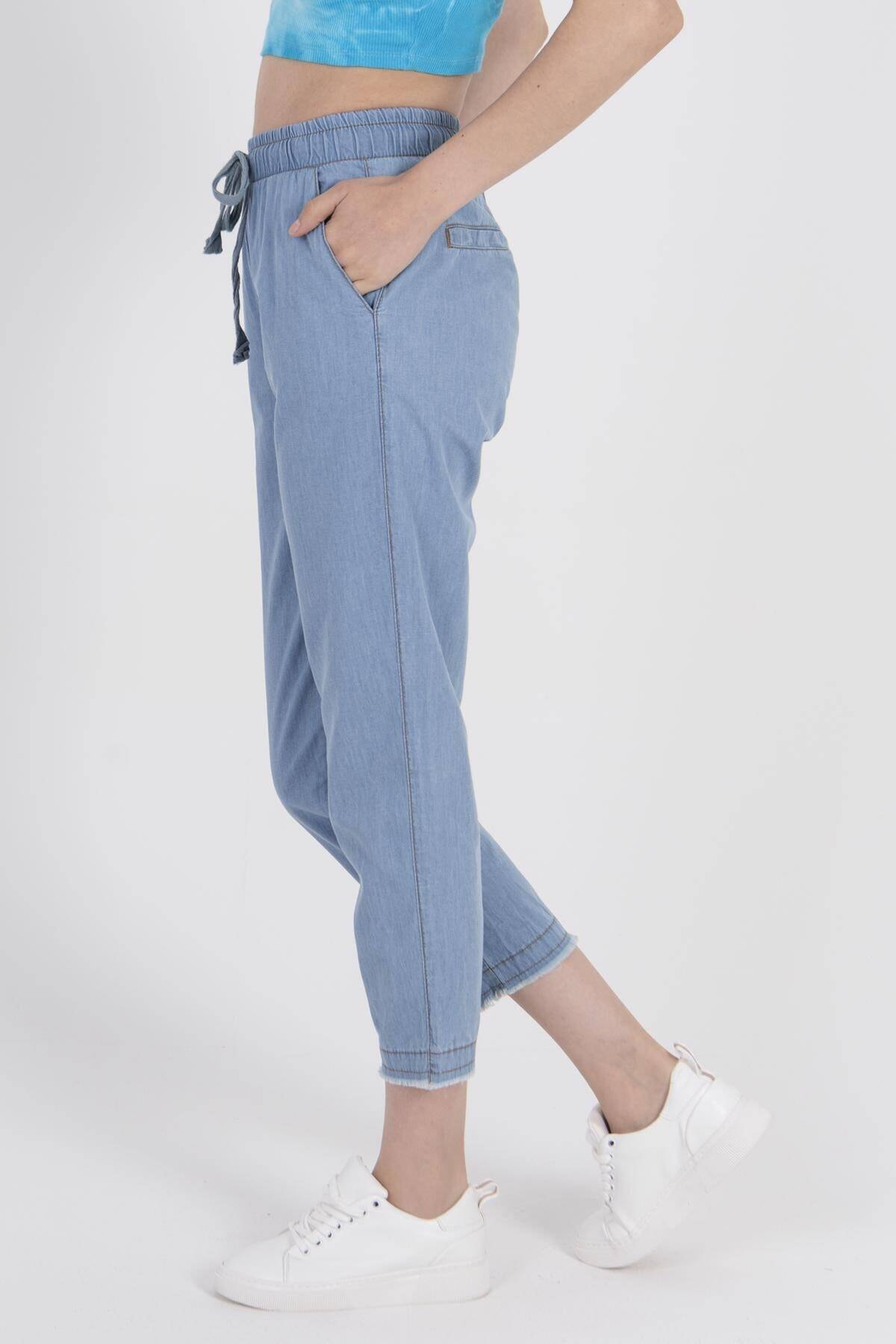 Addax Kadın Açık Kot Rengi Önden Bağlamalı Pantolon PN4317 - PNE ADX-0000022956