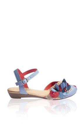BUENO Kadın Mavi Shoes Çiçek Detaylı Hakiki Deri Düz Sandalet Nomea 9n3802