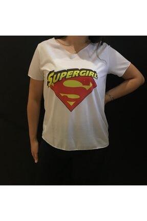 Panda Kadın Beyaz Supergirl Baskılı T-shirt
