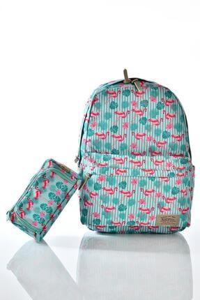 KAUKKO Flamingo Desenli Çanta 2li Set+ Sırt Çantası+kalem Çantası Krn-k1128