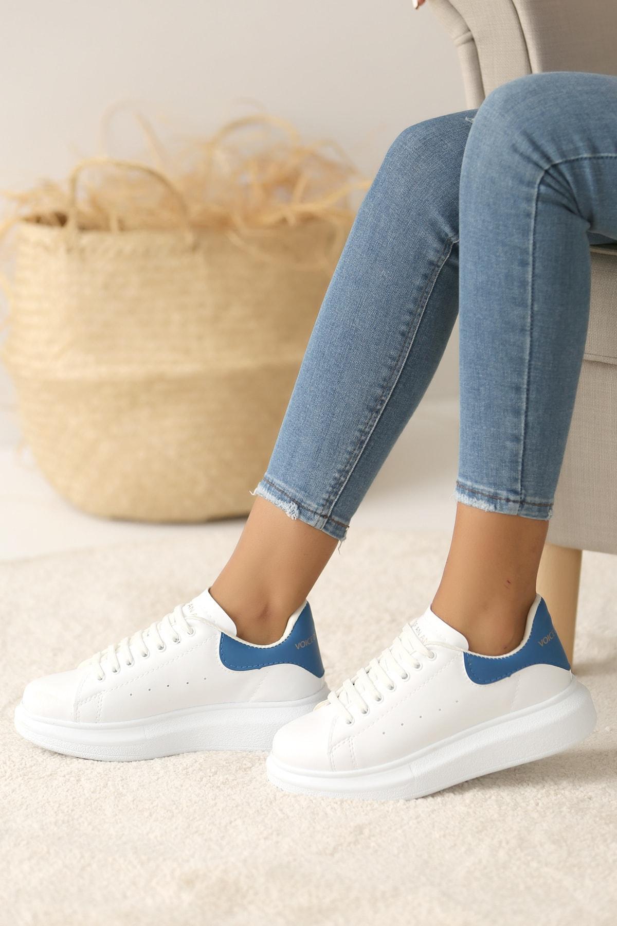 Pembe Potin Kadın Beyaz Mavi Ayakkabı 1