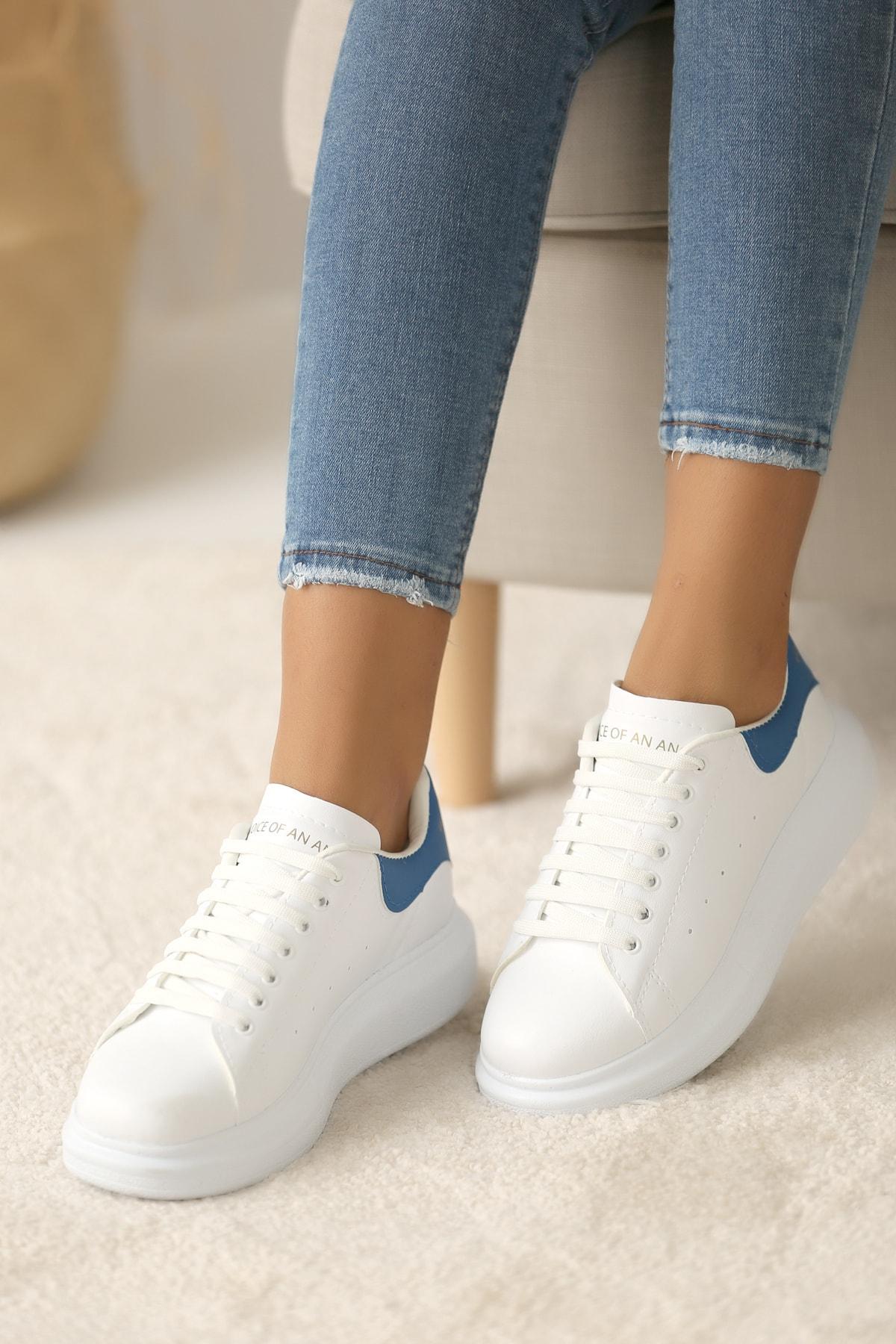 Pembe Potin Kadın Beyaz Mavi Ayakkabı 2