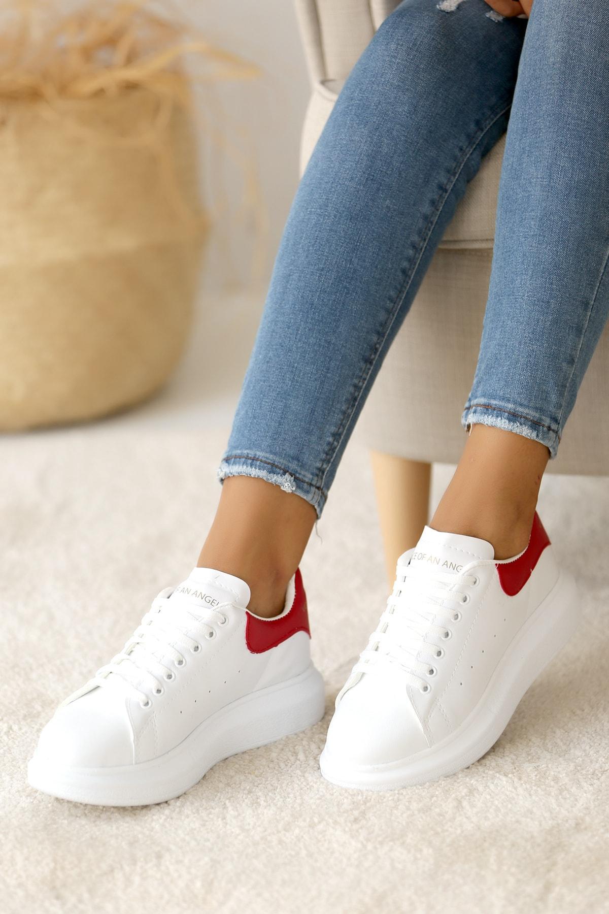 Pembe Potin Kadın Beyaz Kırmızı Ayakkabı 1