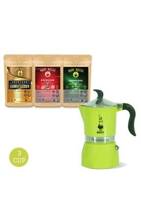 Bialetti Bıalettı Moka Pot Fıammetta Lıme -yeşil Limon- 3 Cup + 3 X 100 Gr Espresso Kahve Hediye
