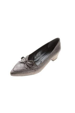 PUNTO Kadın Platin Abiye Kısa Topuk Ayakkabı