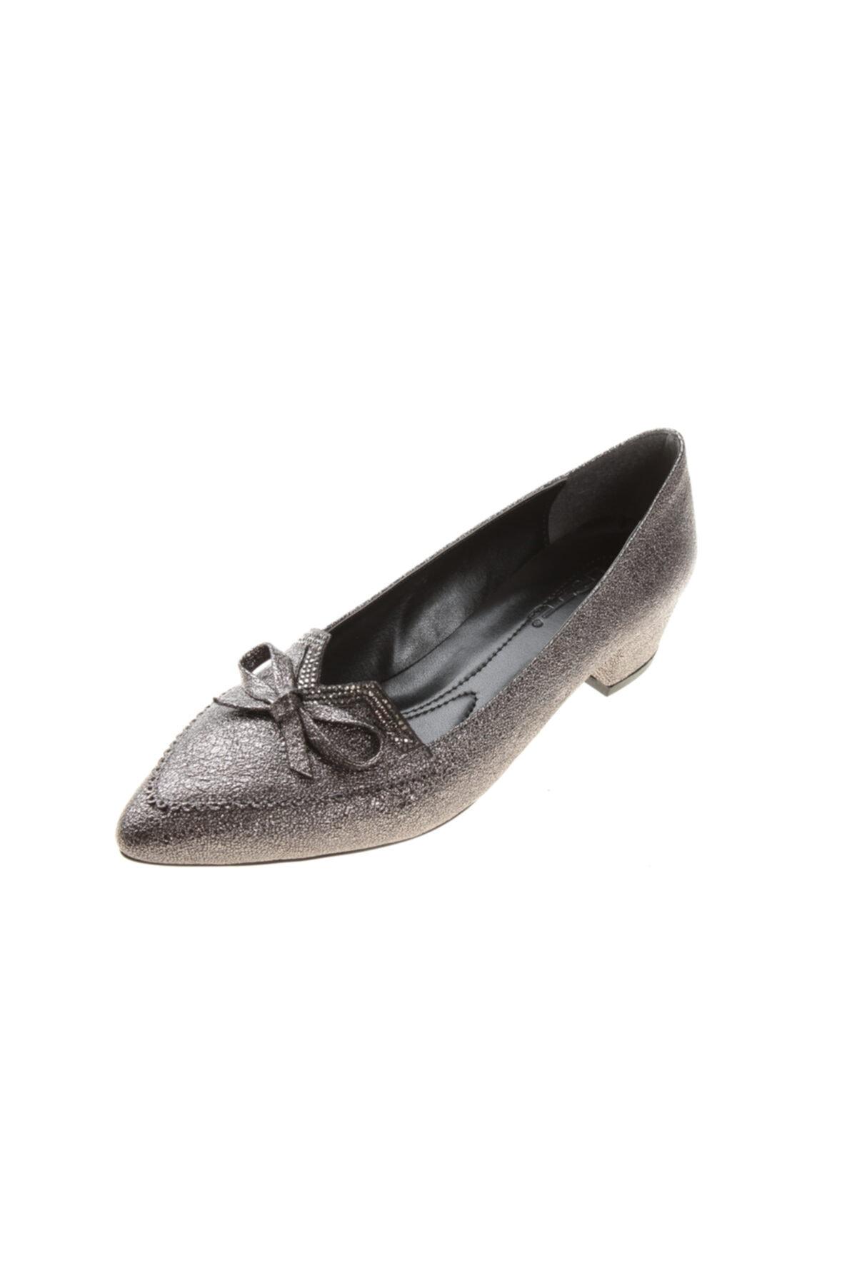 PUNTO Kadın Platin Abiye Kısa Topuk Ayakkabı 1