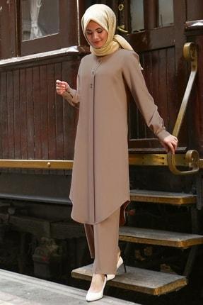 Fahima Rübeysa - Tunik - Pantolon - Takım - Vizon