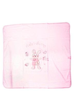 Albimini Pembe Akyüz Bebe Tavşan Baskılı 90 X 80 cm Penye Battaniye