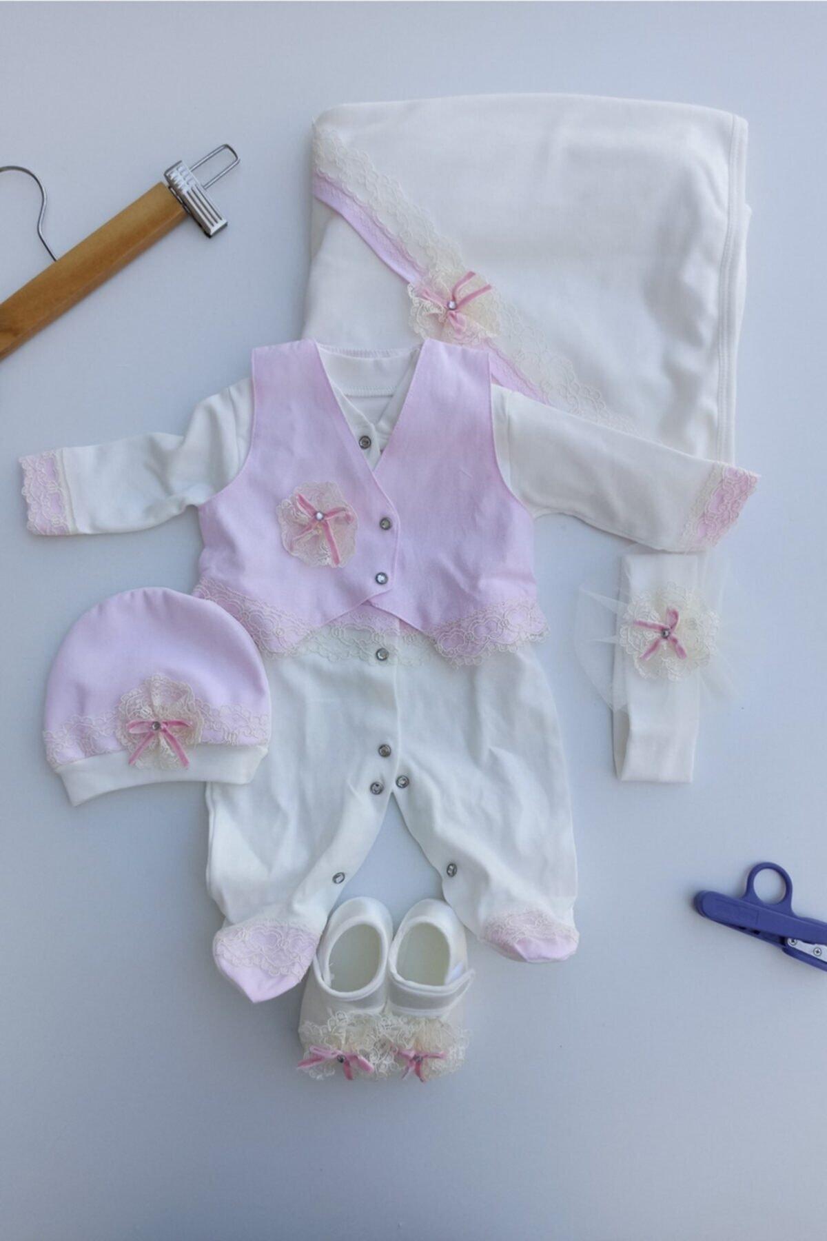 Eda Baby Kız Bebek Pembe 5'li Set Hastane Çıkışları 2