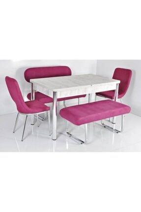 Kaktüs Avm 6 Kişilik Masa Sandalye Takımı Açılır Mutfak Masası Banklı Mutfak Masası Bank Takımı Masa Takımı