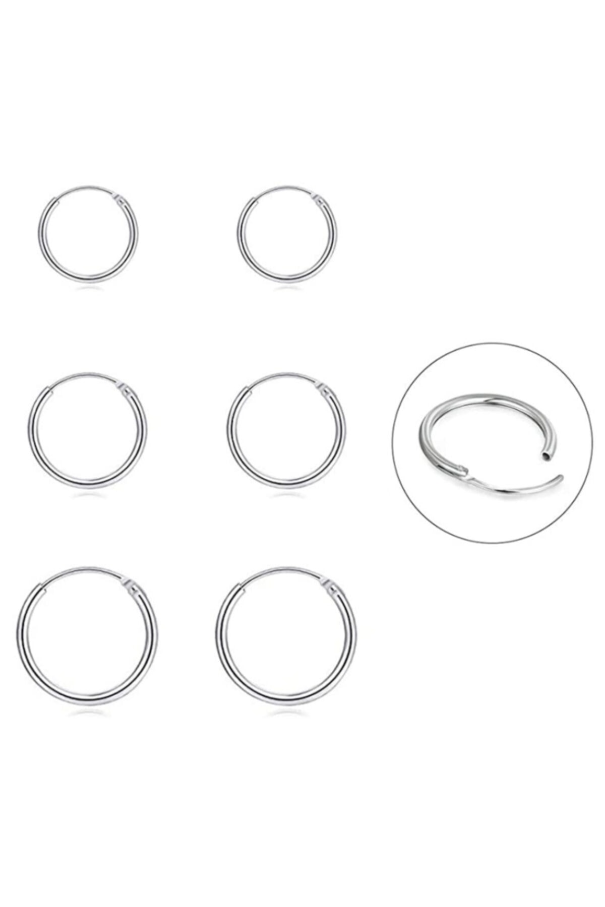 Onur Silver 925 Ayar Saf Gümüş Halka Küpe Seti 3'lü Hoop Earing Complete 12-14-16 Mm 1