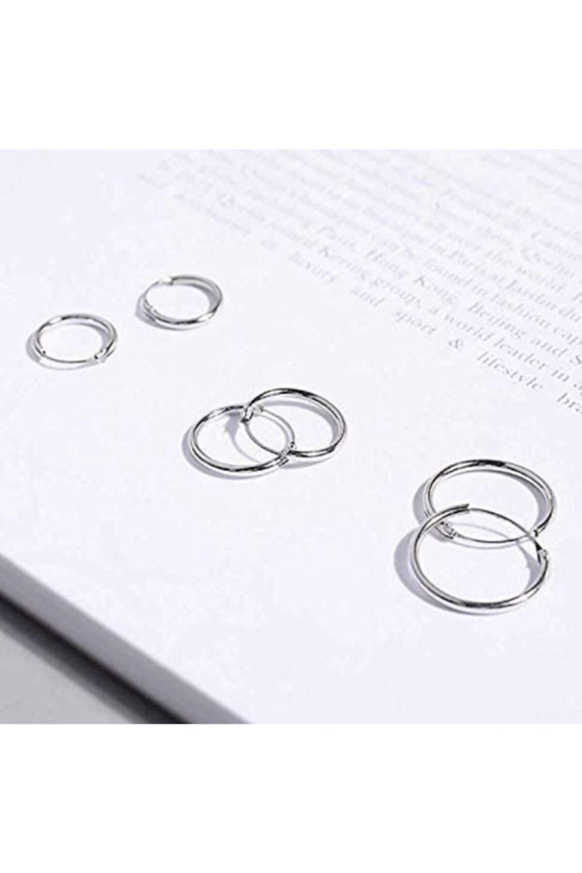 Onur Silver 925 Ayar Saf Gümüş Halka Küpe Seti 3'lü Hoop Earing Complete 12-14-16 Mm 2