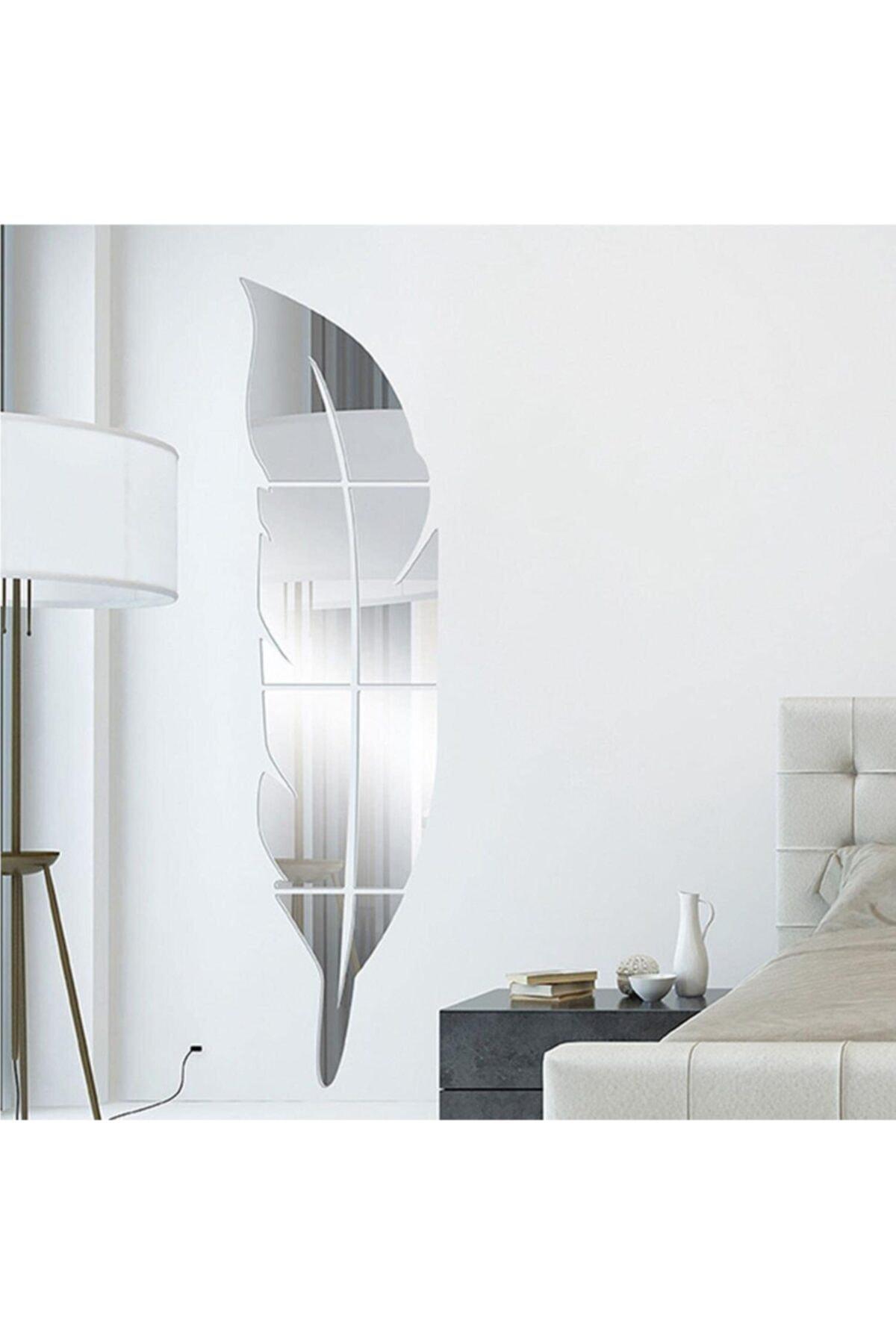 Dekoronto Dekoratif Duvar Dekorasyon Tüy Desen Gümüş Ayna Pleksi 25 X 100 Cm 2