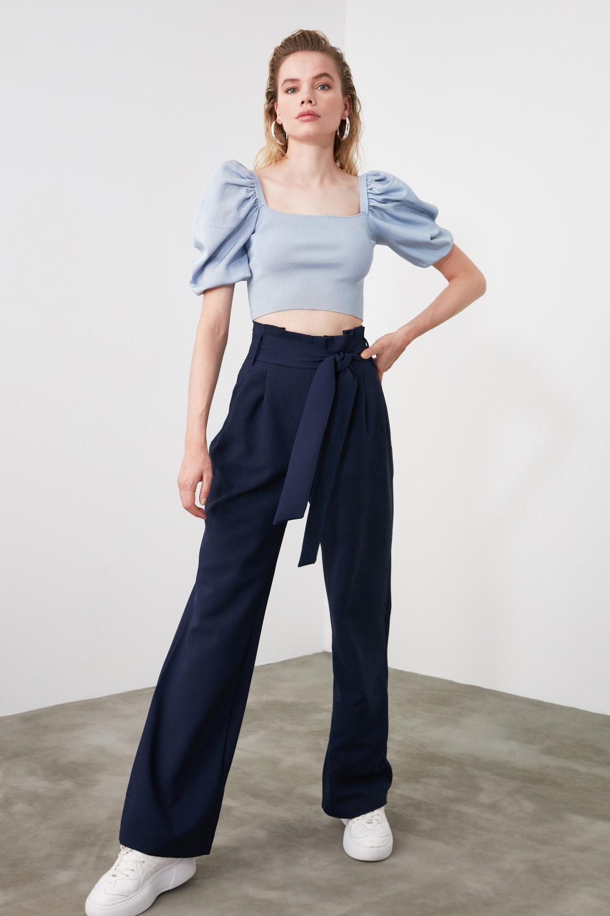 TRENDYOLMİLLA Lacivert Kuşaklı Pileli Geniş Paça Pantolon TWOAW20PL0147 1