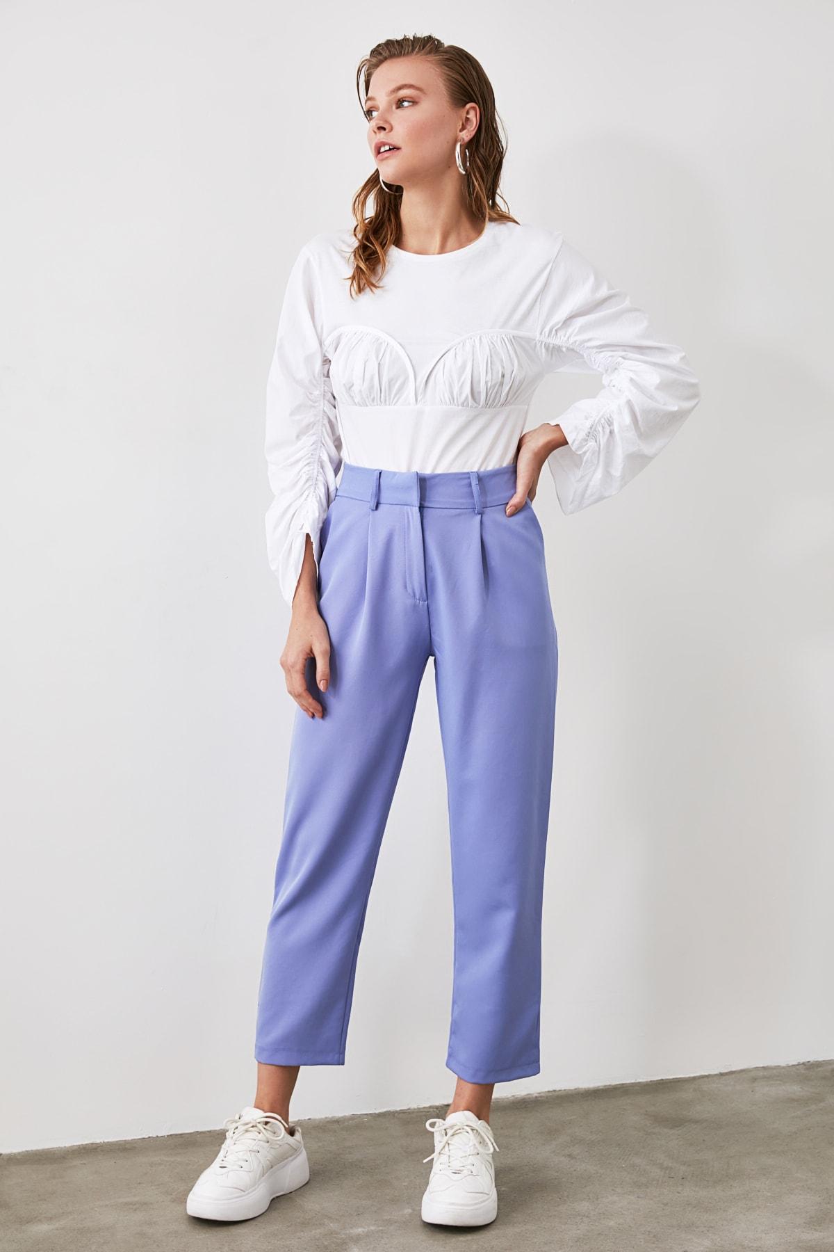 TRENDYOLMİLLA Mavi Kemer Detaylı Pantolon TWOSS19BB0468 2