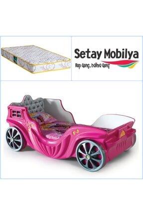 Setay Prenses Arabalı Karyola, Prenses Fayton Araba Yatak + Comfort Ortopedik Yatak