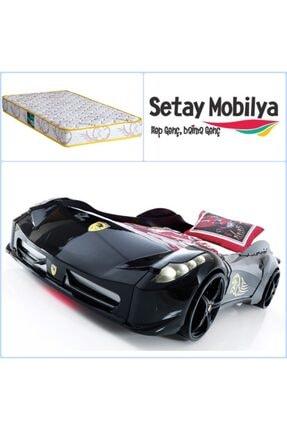 Setay Arabalı Yatak, Ferrari Arabalı Yatak Siyah + Comfort Ortopedik Yatak