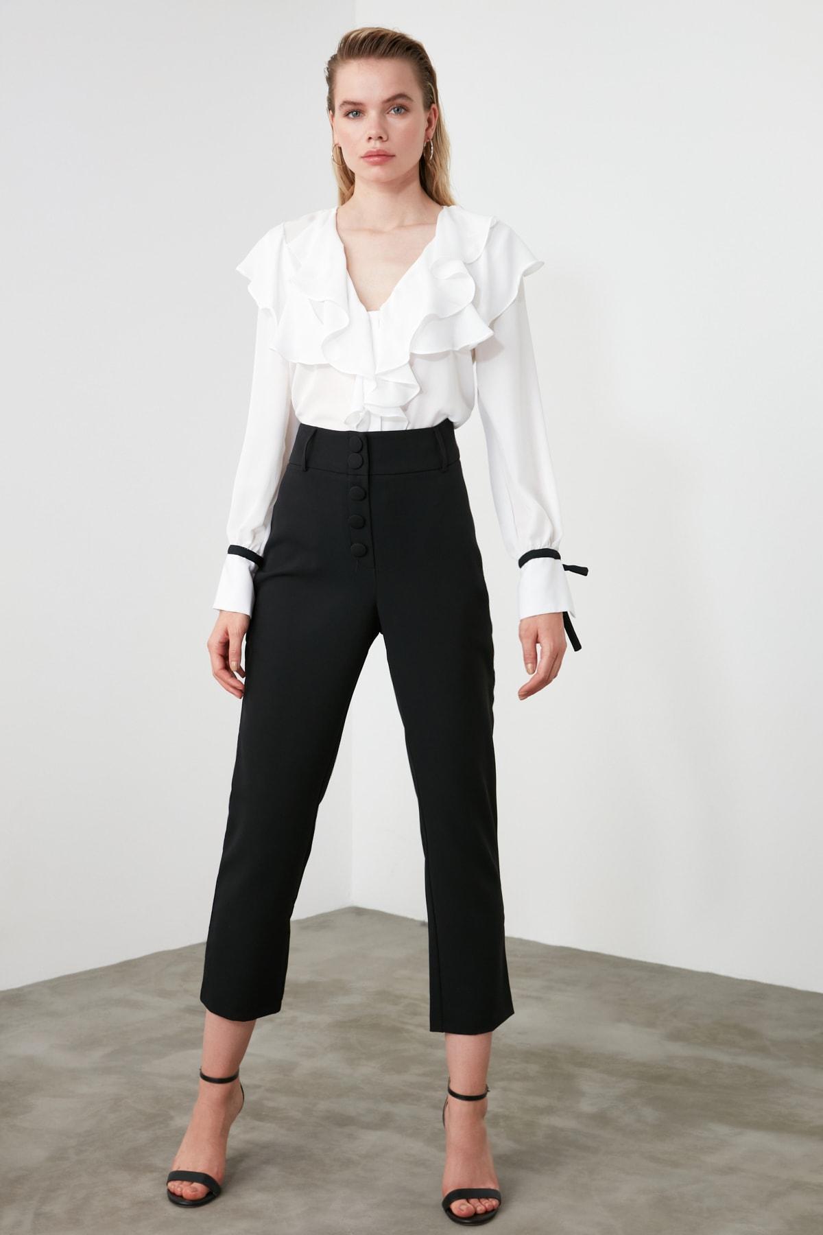 TRENDYOLMİLLA Siyah Düğme Detaylı Cigartte Pantolon TWOSS19WX0086 2