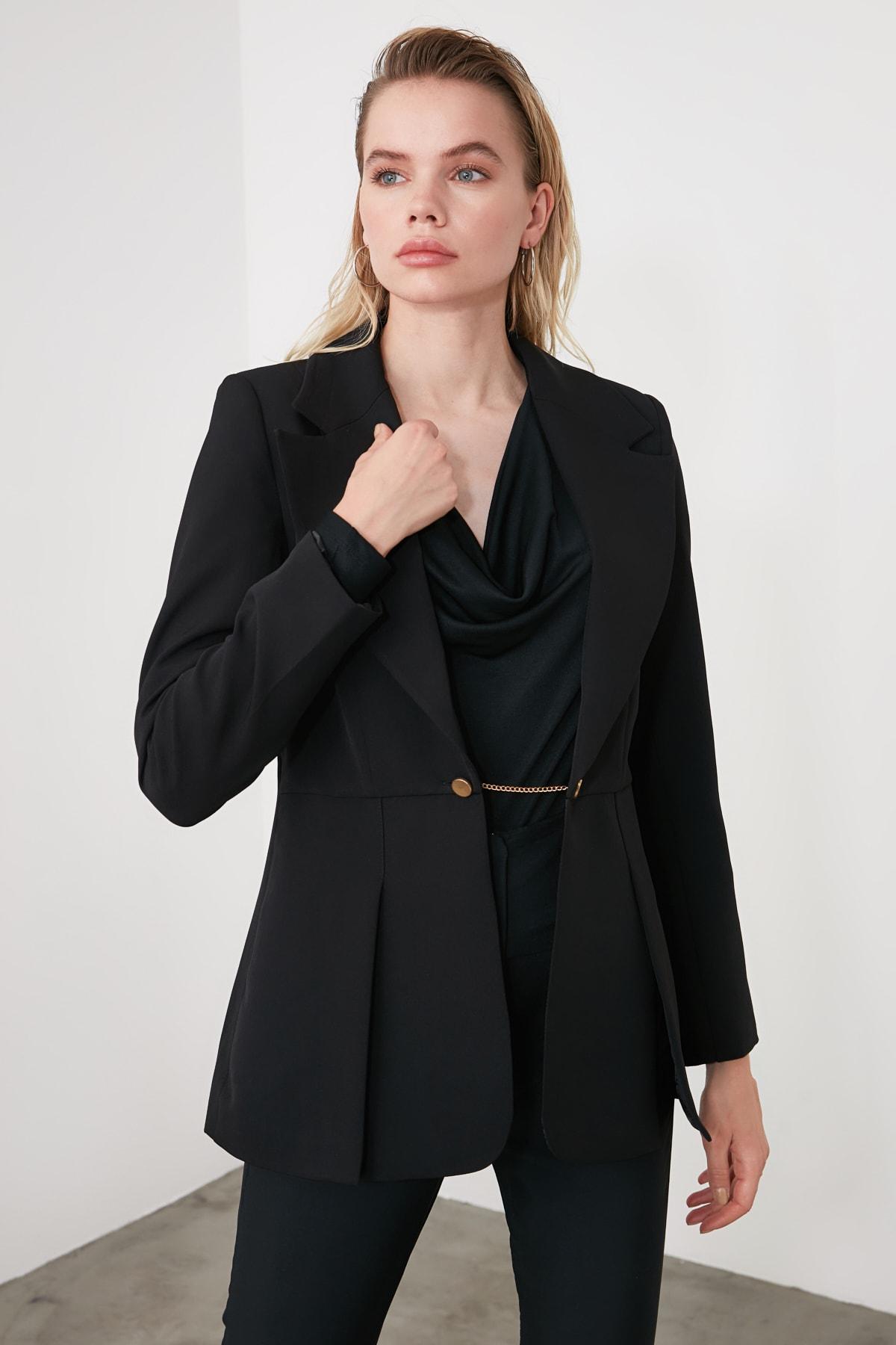 TRENDYOLMİLLA Siyah Metal Düğmeli Pens Detaylı Blazer Ceket TWOSS20CE0095 2
