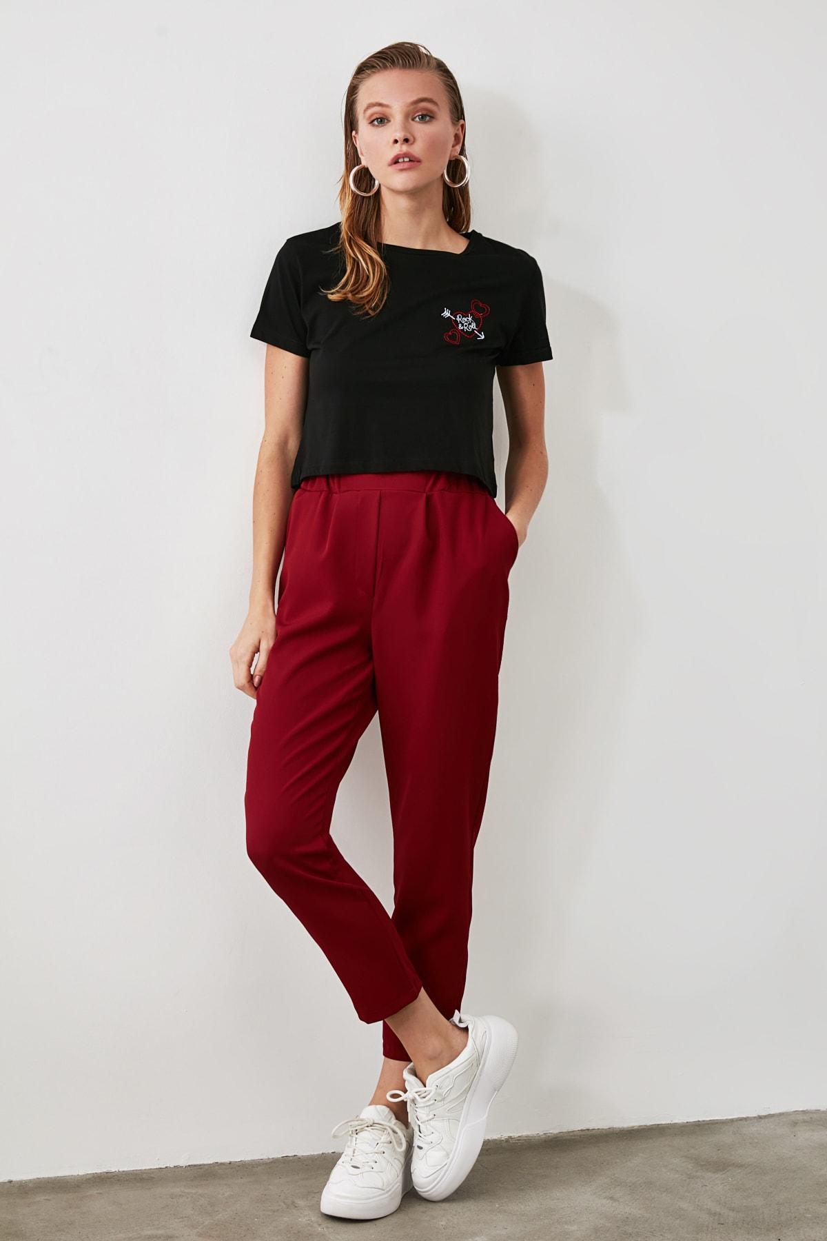 TRENDYOLMİLLA Bordo Basic Pantolon TWOAW21PL0197 1