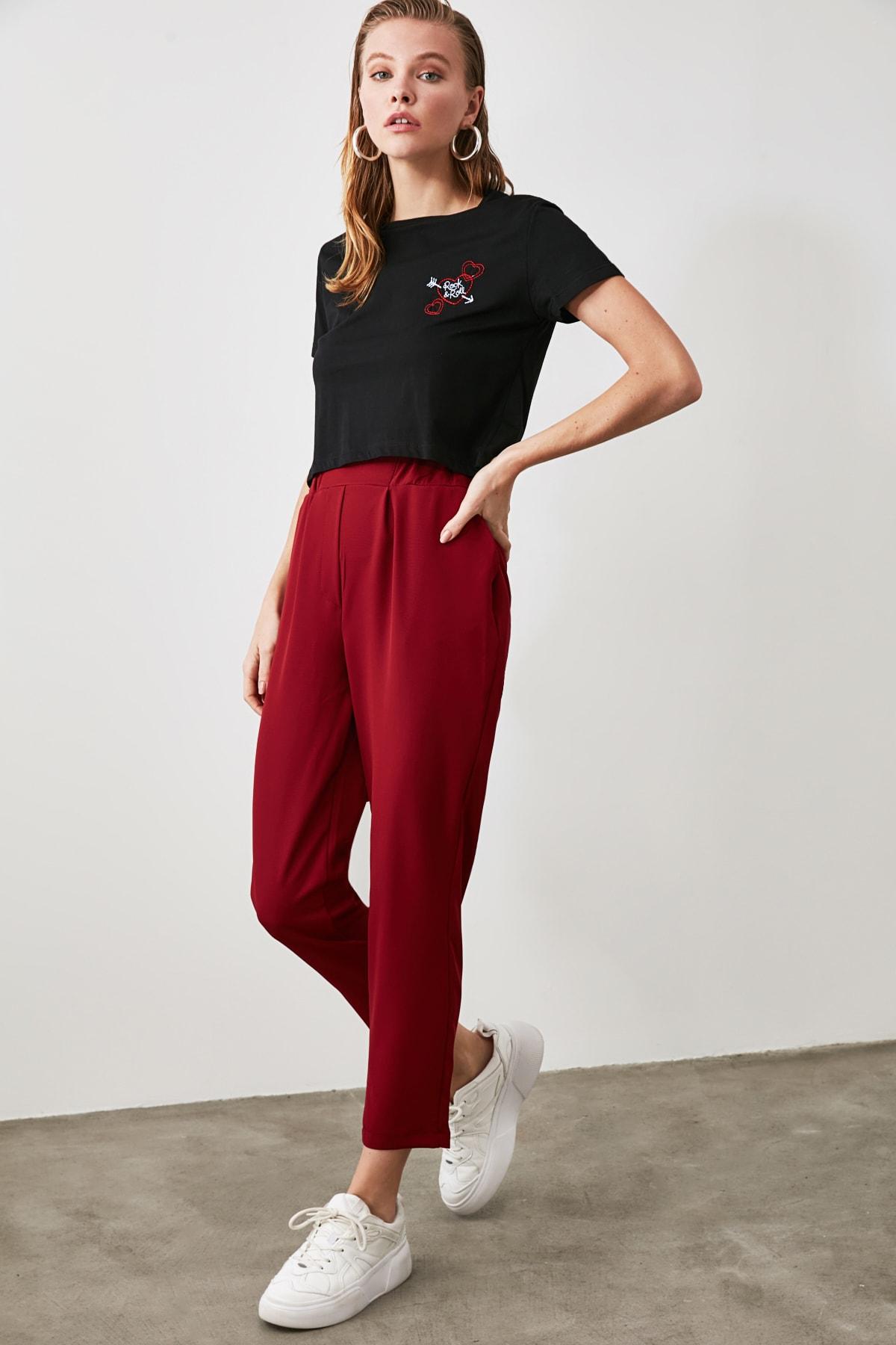 TRENDYOLMİLLA Bordo Basic Pantolon TWOAW21PL0197 2