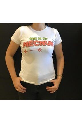 Panda Kadın Beyaz Mecnun Yazılı T-shirt