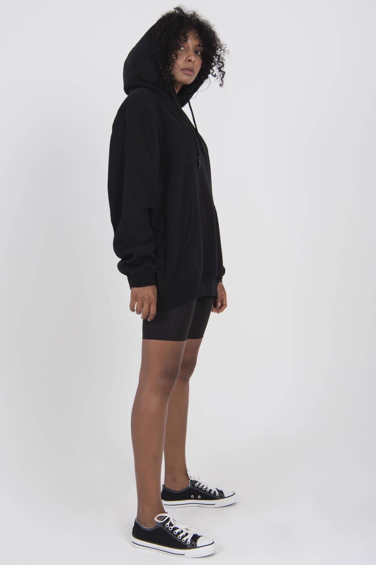 Addax Kadın Siyah Kapşonlu Oversize Sweat S0925 - G11 ADX-0000022256