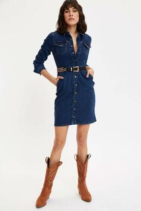 DeFacto Kadın Mavi Slim Fit Düğmeli Jean Elbise M6638az.20sp.nm28