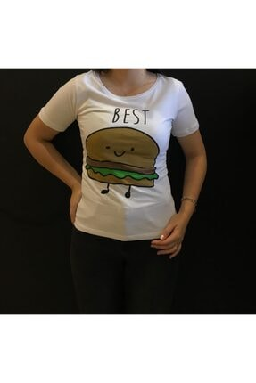 Panda Best Yazılı Hamburger Baskılı T-shirt