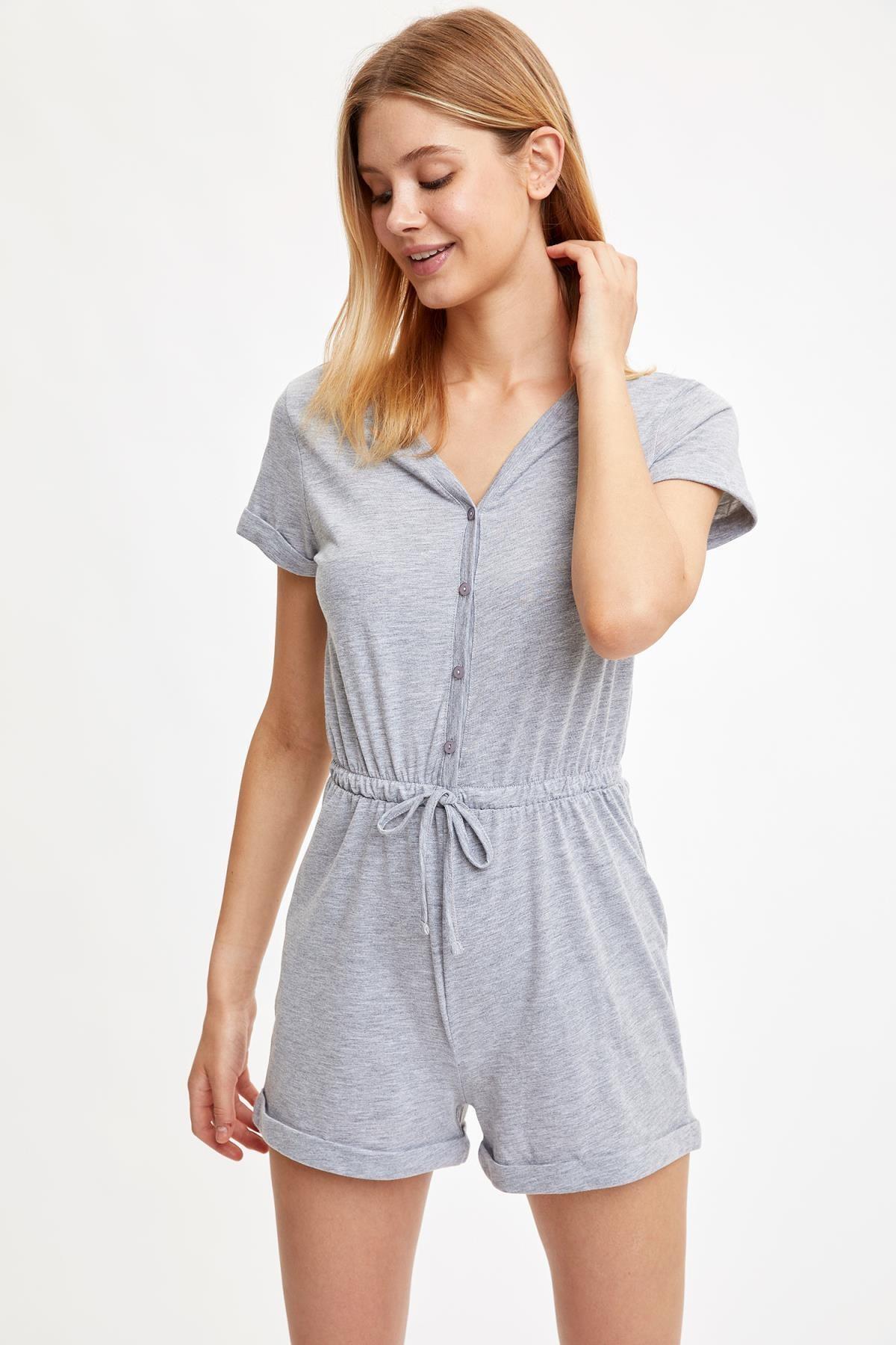 DeFacto V Yaka Düğmeli Pijama Tulumu