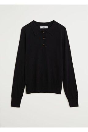 MANGO Woman Kadın Siyah İnce Dokuma Polo Yaka T-shirt