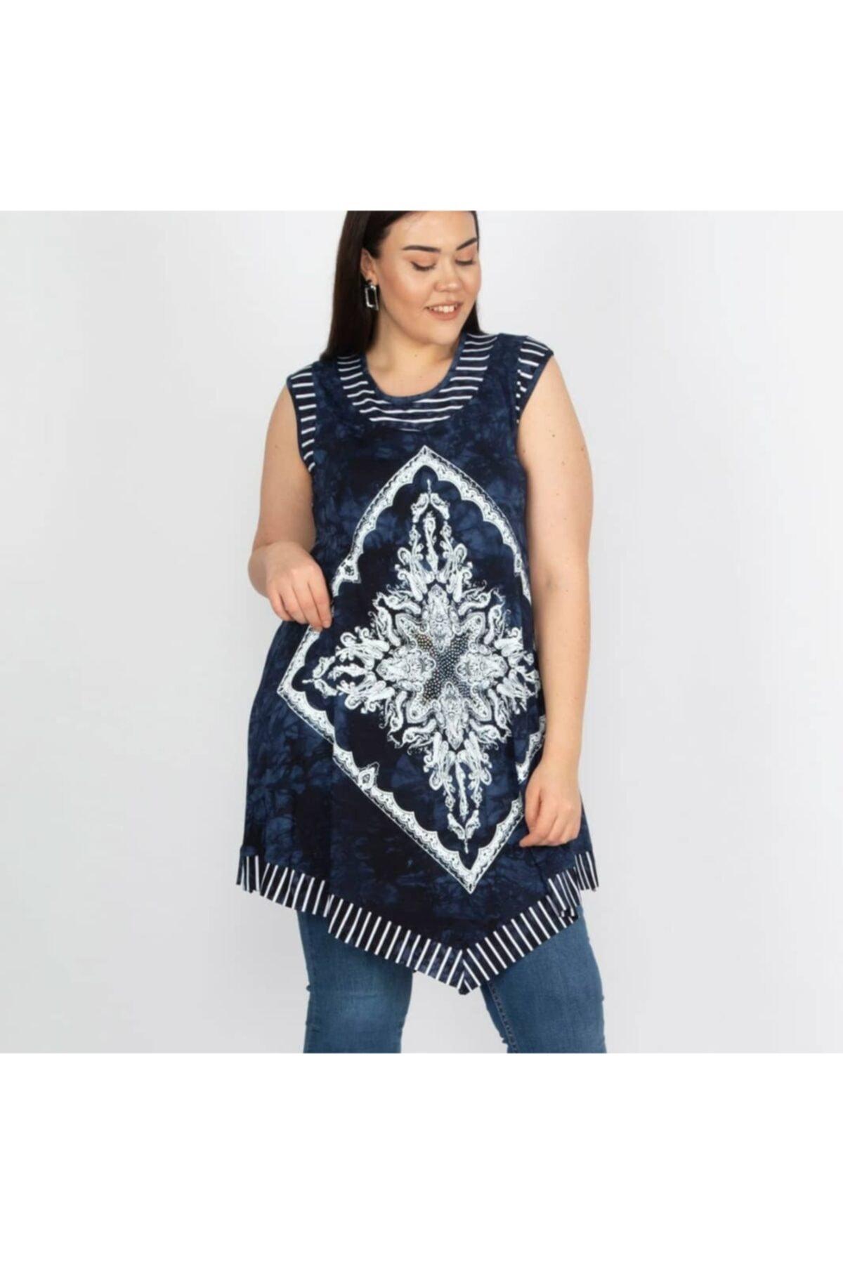 TREND KADIN Kadın Mavi Desenli Batik Tunik 1