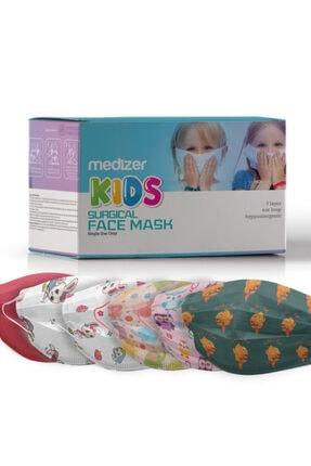 Sabomar Medizer Full Ultrasonik Cerrahi Kız Çocuk Maskesi 50 Adet - Burun Telli - 10'ar Adet 5 Farklı Desen