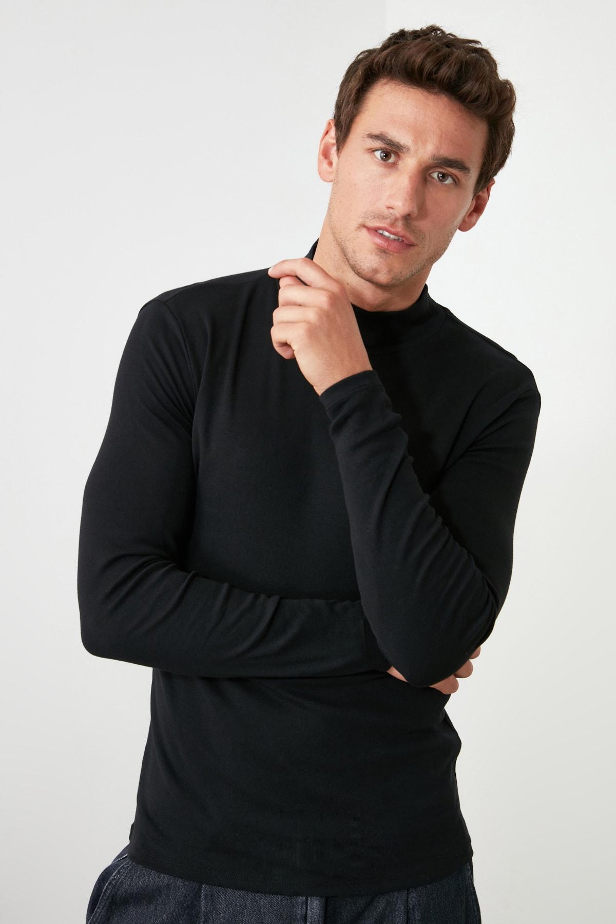 TRENDYOL MAN Siyah Erkek Slim Fit Uzun Kollu Yarım Balıkçı Yaka Basic T-Shirt TMNAW20TS0210 2