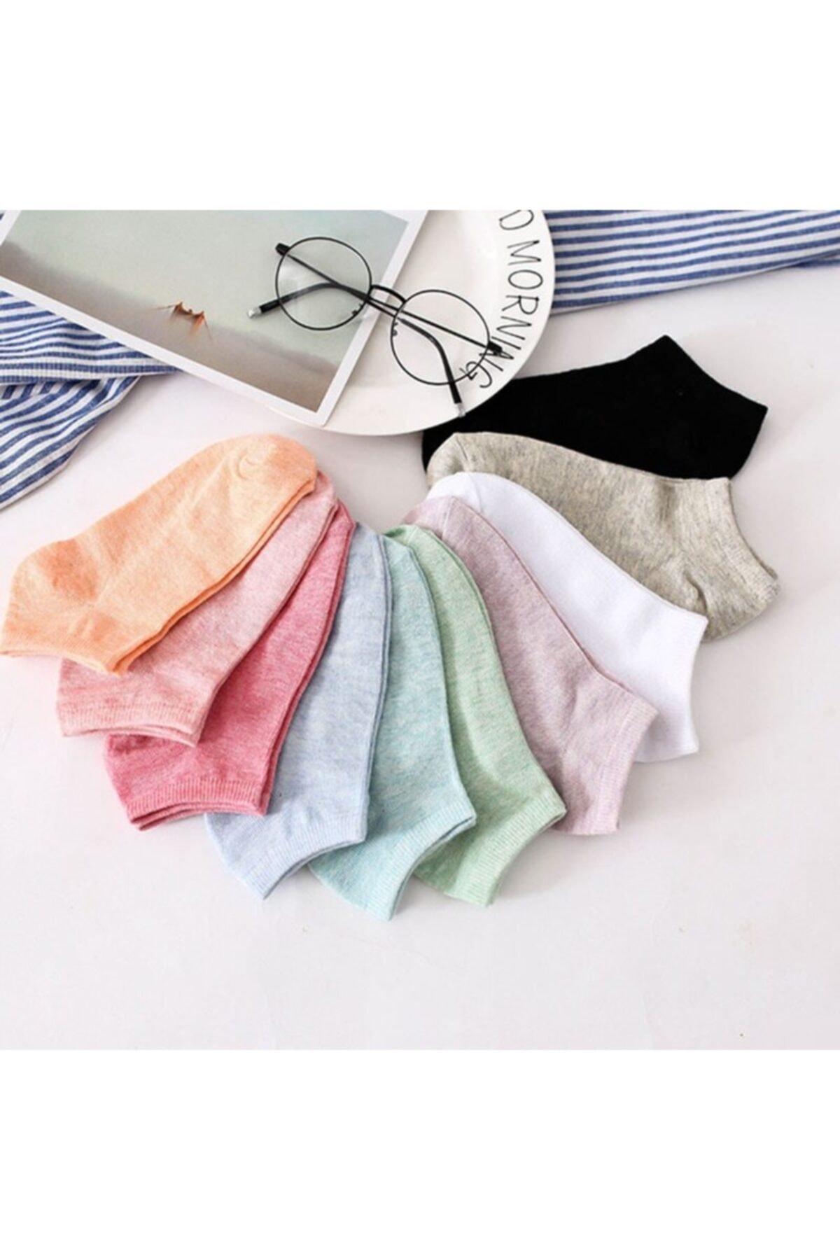 çorapmanya Kadın 12 Çift Koton Ekonomik Karışık Soft Renkler  Patik Çorap 1