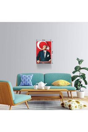 BASKIVAR Mustafa Kemal Atatürk Portresi Türk Bayraklı Dikey Kanvas Tablo - Tablo - Ata-027