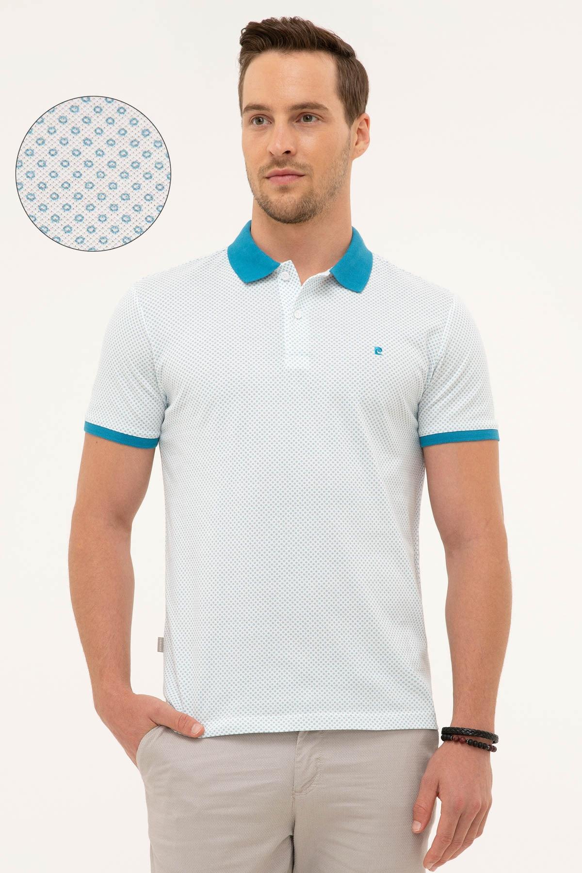 Pierre Cardin Erkek Mavi Slim Fit Polo Yaka T-Shirt 1