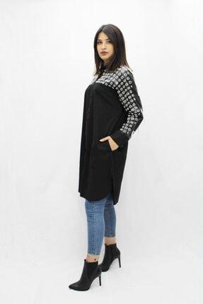 Etnik Esintiler Kadın Siyah Gömlek Elbise