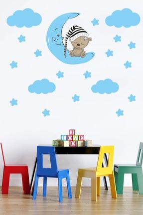 Tilki Dünyası Sevimli Ayıcık , Mavi Yıldızlar Ve Bulutlar Dekoratif Bebek Çocuk Odası Duvar Sticker