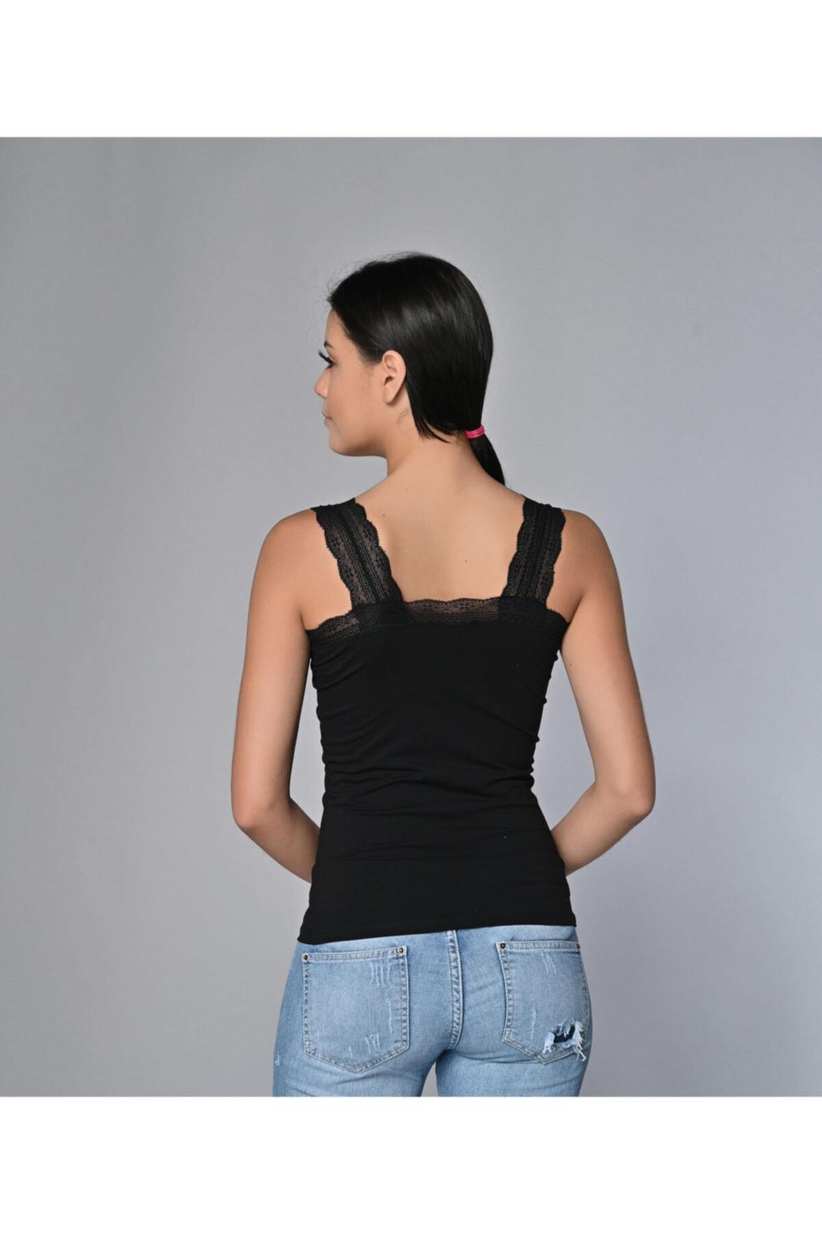 Sevim Kadın Siyah Likralı Dantelli Bluz 2