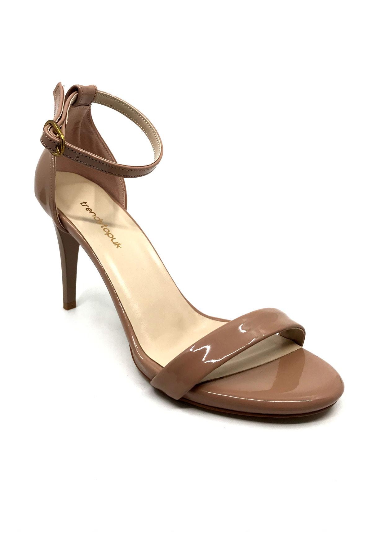 trendytopuk Kadın Karamel Rugan Tek Bant Topuklu Sandalet 1