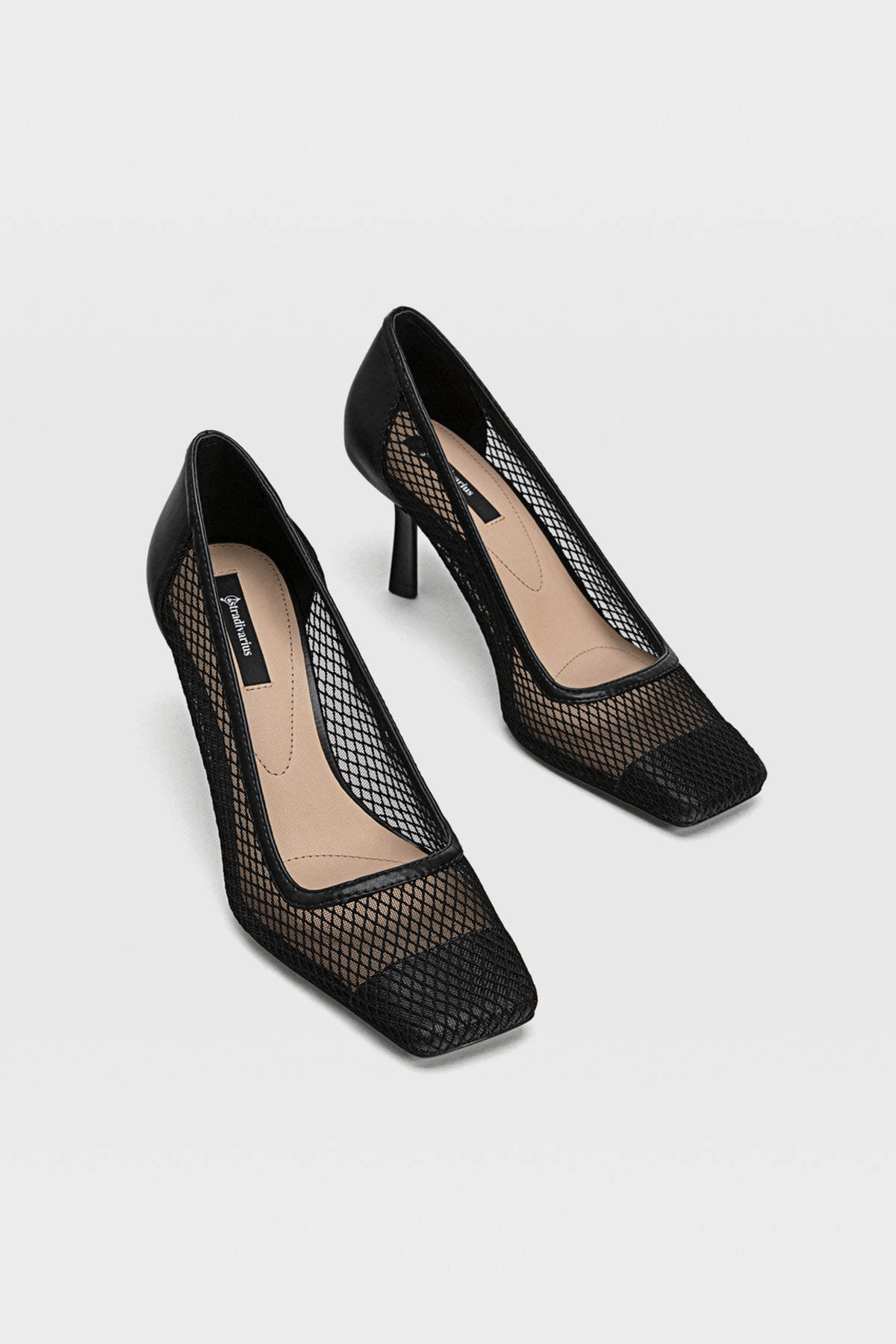 Stradivarius Kadın Siyah Fileli Yüksek Topuklu Ayakkabı 19657670 2