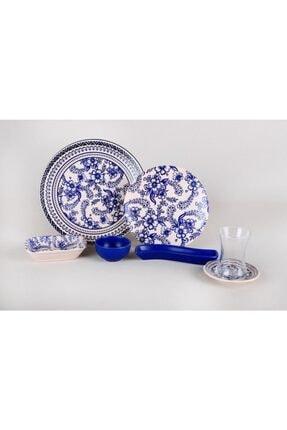 Keramika Lacivert Beyaz Çini Deseni 19 Parça Kahvaltı Seti