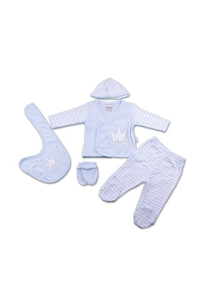 Ciccim Baby Erkek Bebek Gri Hastane Çıkışı 5 Li Zıbın Set