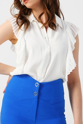 RANDOM Kadın  Beyaz   Omuzları Fırfır Detaylı Kolsuz Gömlek