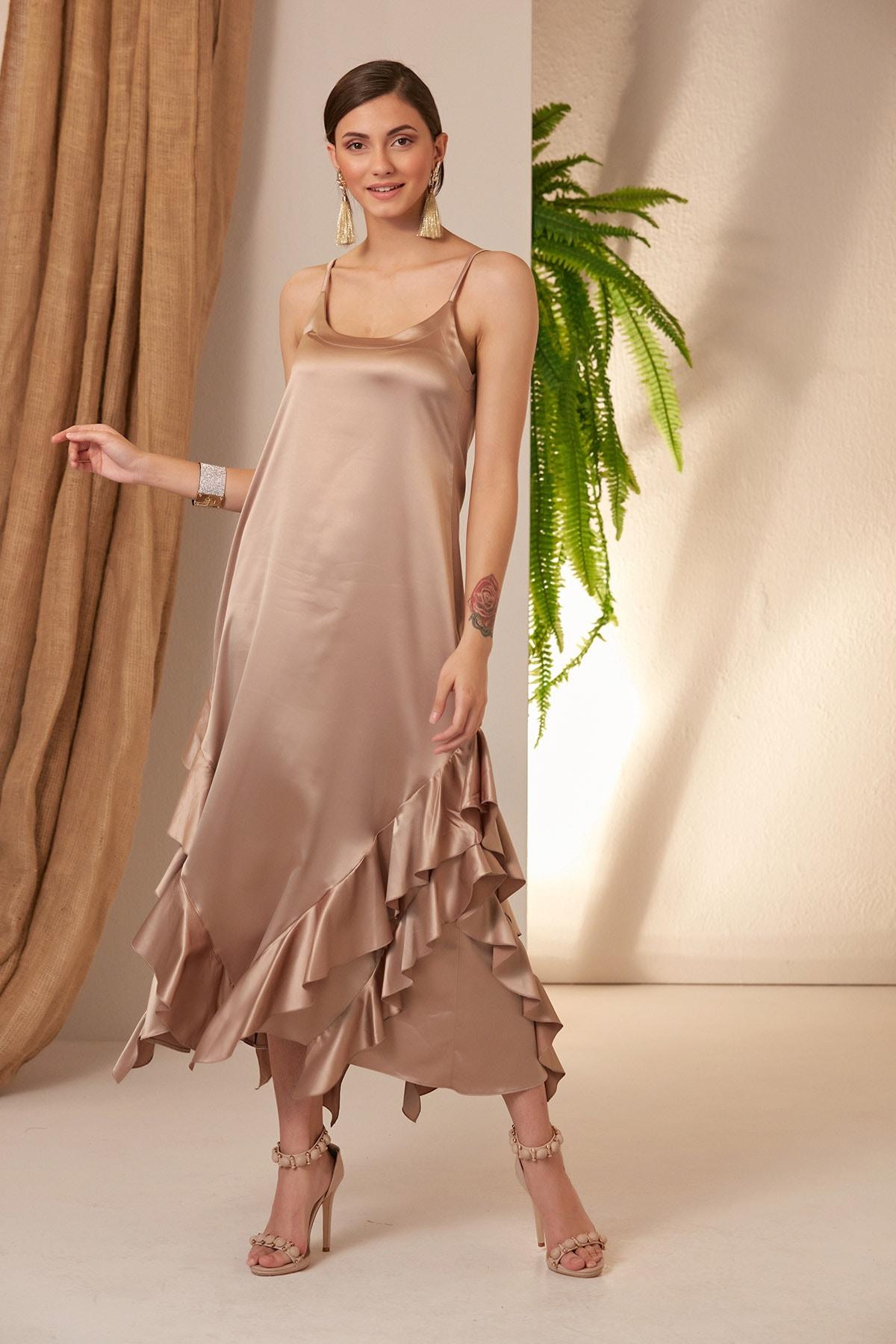 MONAMORE Kadın Tas Saten Uçları Fırfırlı Elbise 1