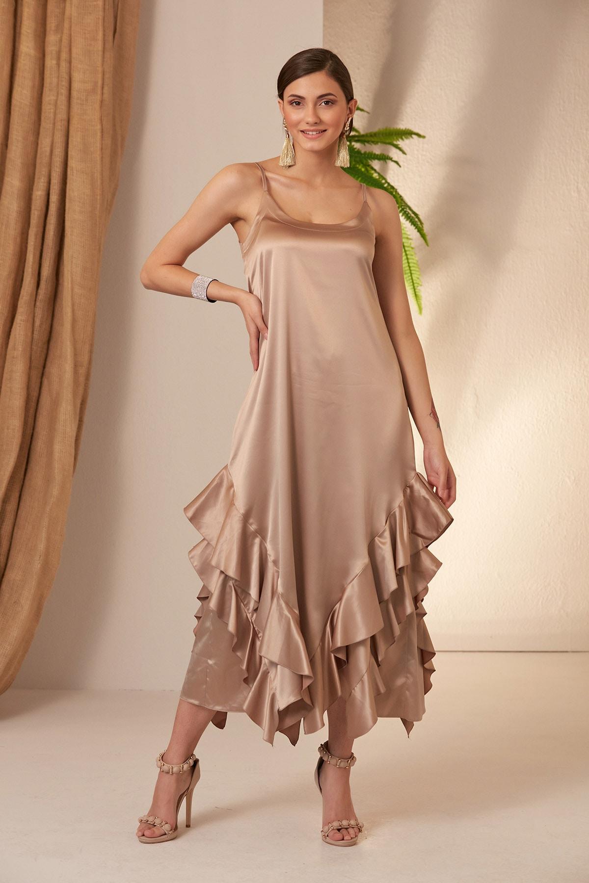 MONAMORE Kadın Tas Saten Uçları Fırfırlı Elbise 2